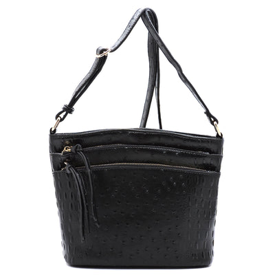 Ostrich Croc Zip Crossbody Bag