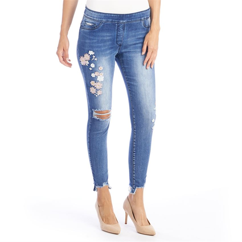 OMG Embroidered Distressed Ankle Jean