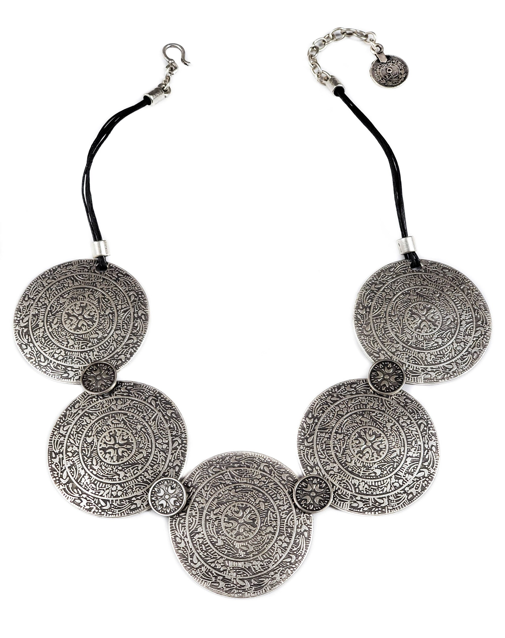 Pewter Leather Medallion Necklace
