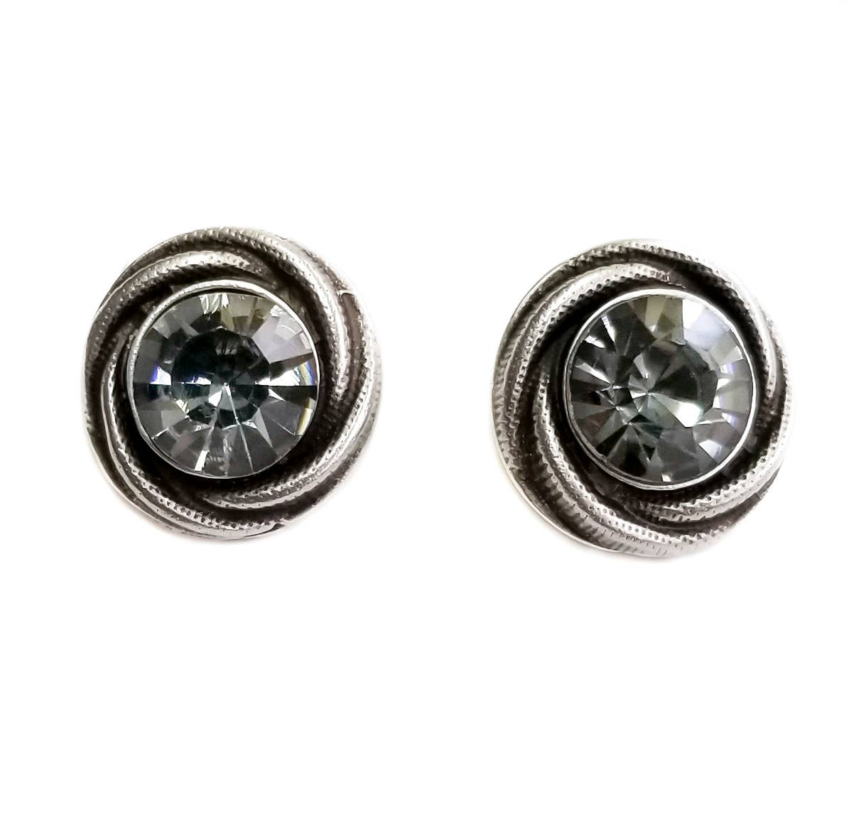 Roundy Smoky Crystal Earrings