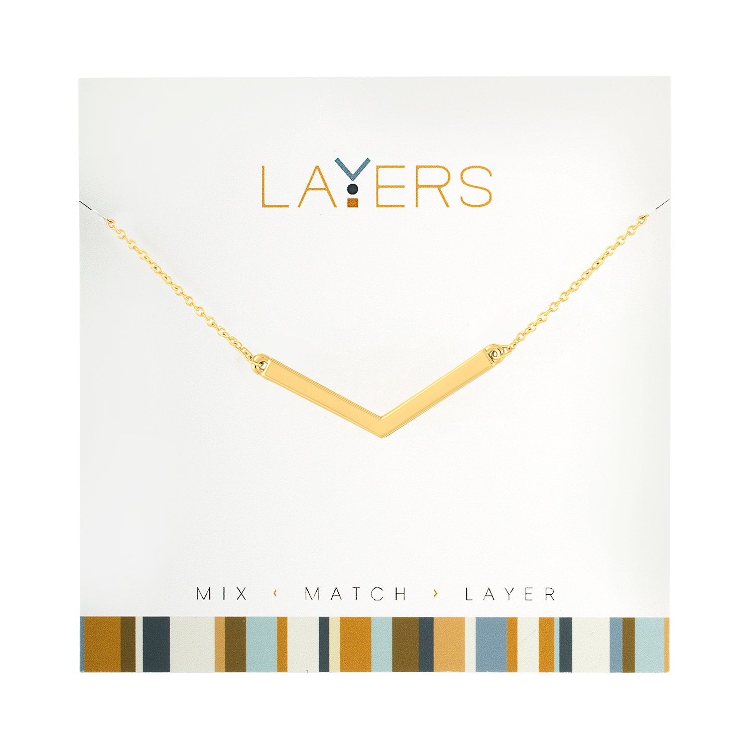 "Gold Wide ""V"" Layers Necklace"