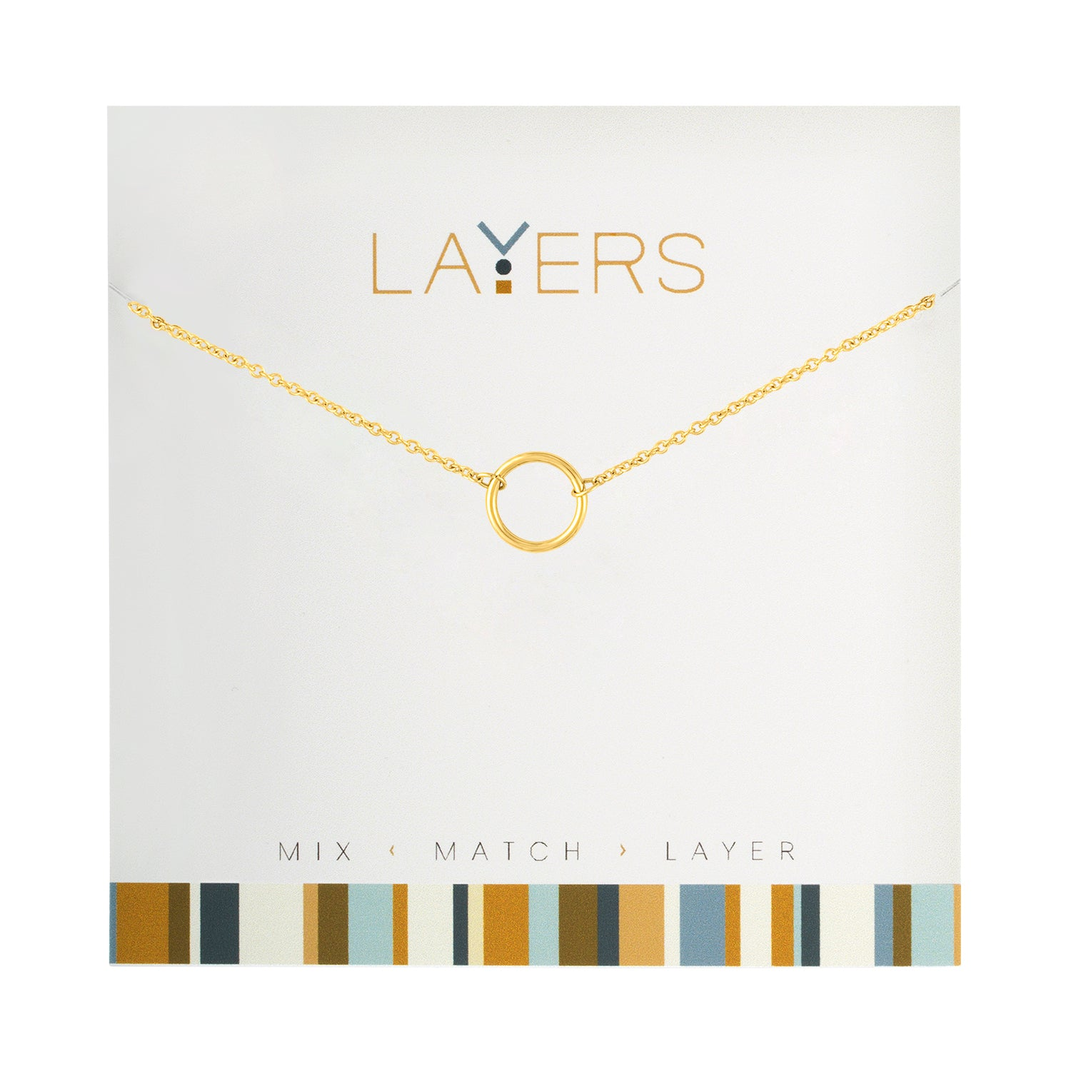 Gold Open Circle Layers Necklace