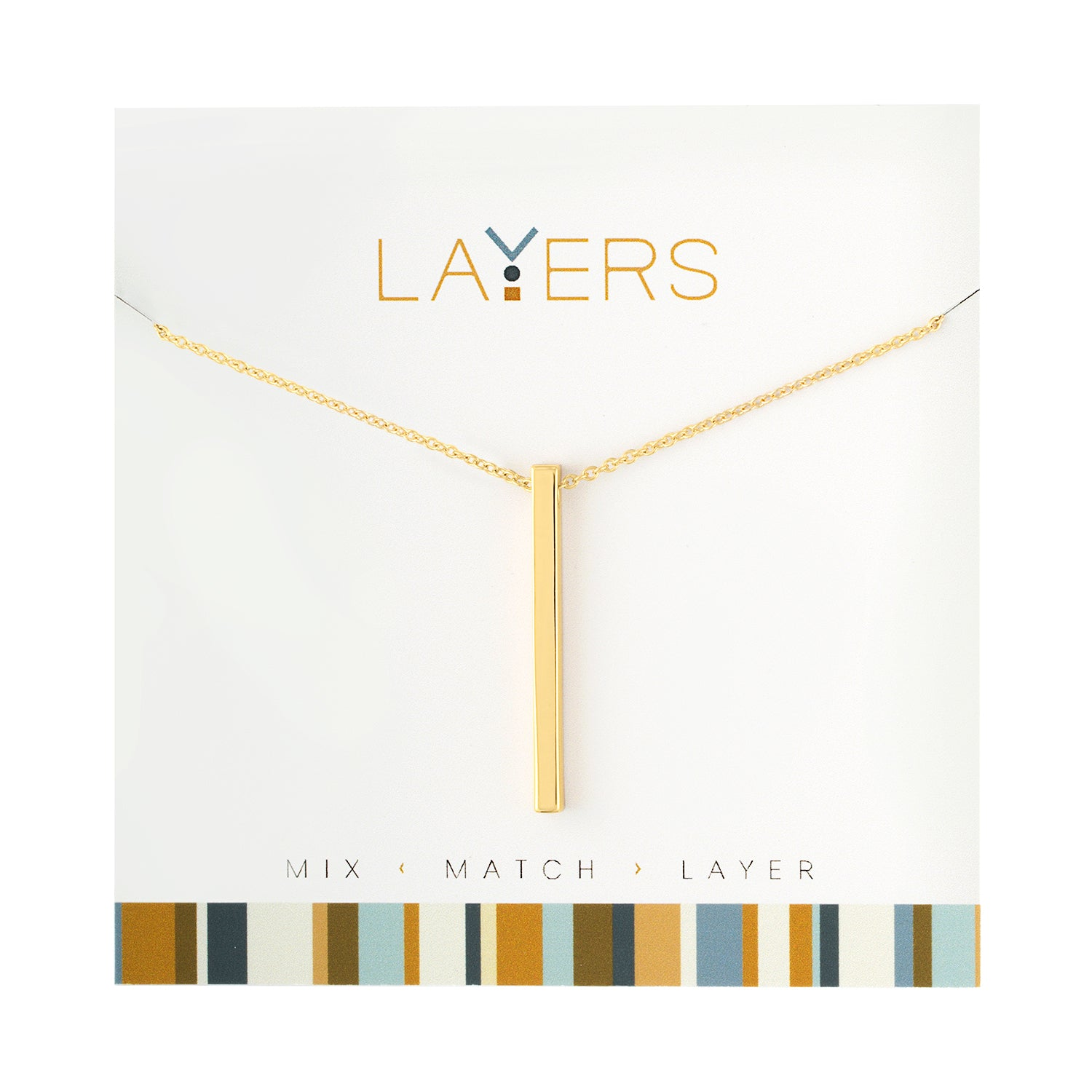 Gold Single Bar Layers Necklace