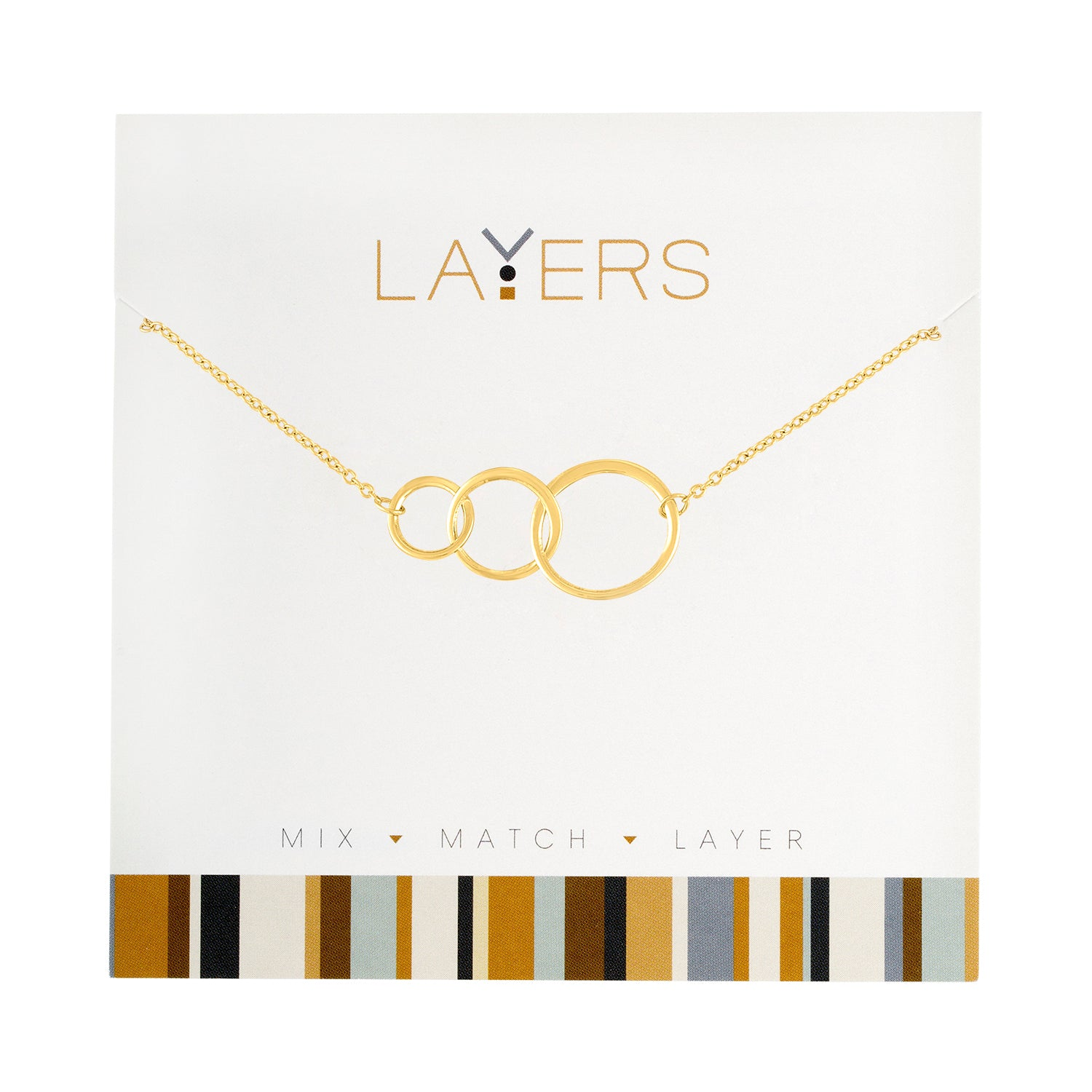 Gold Trio Open Circles Layers Necklace