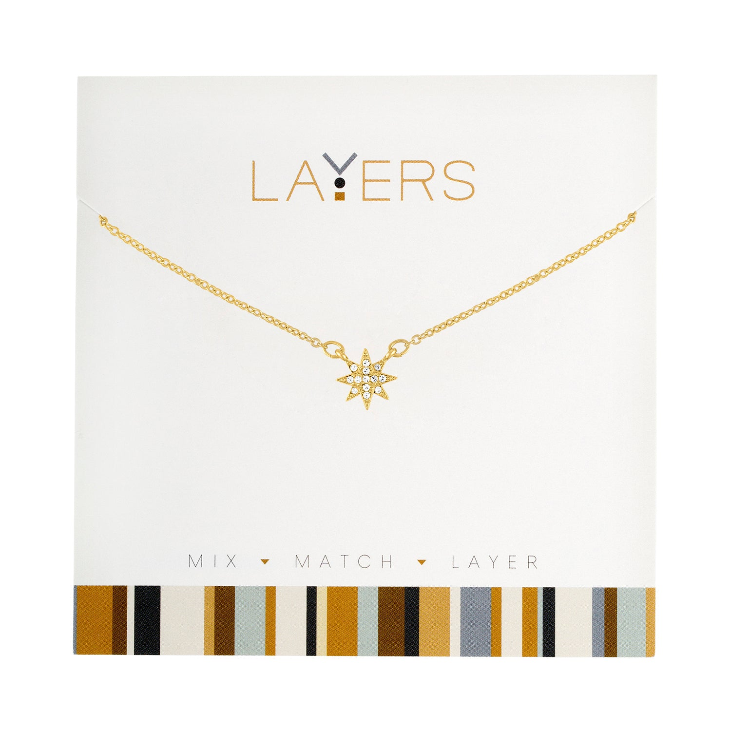 Gold CZ Starburst Layers Necklace