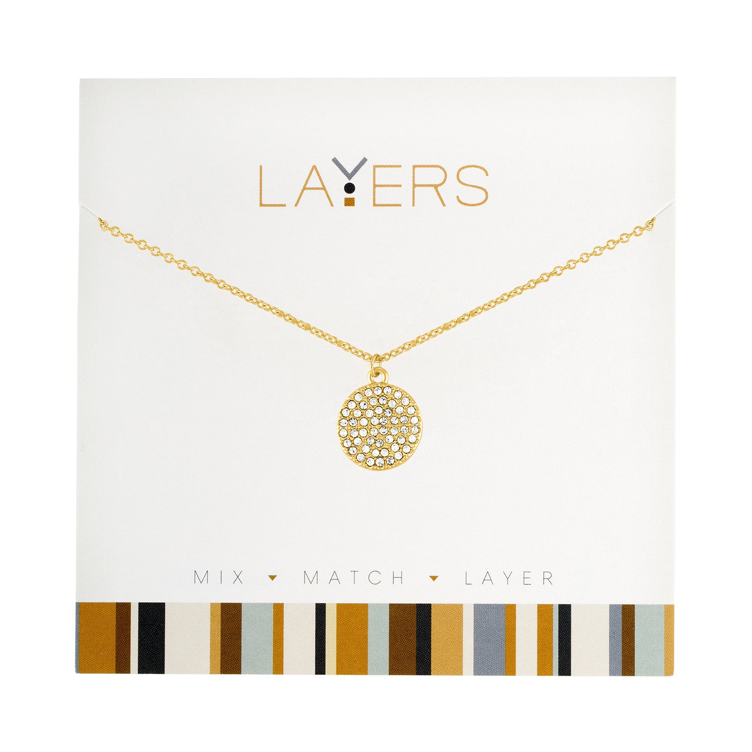 Gold Round CZ Layers Necklace