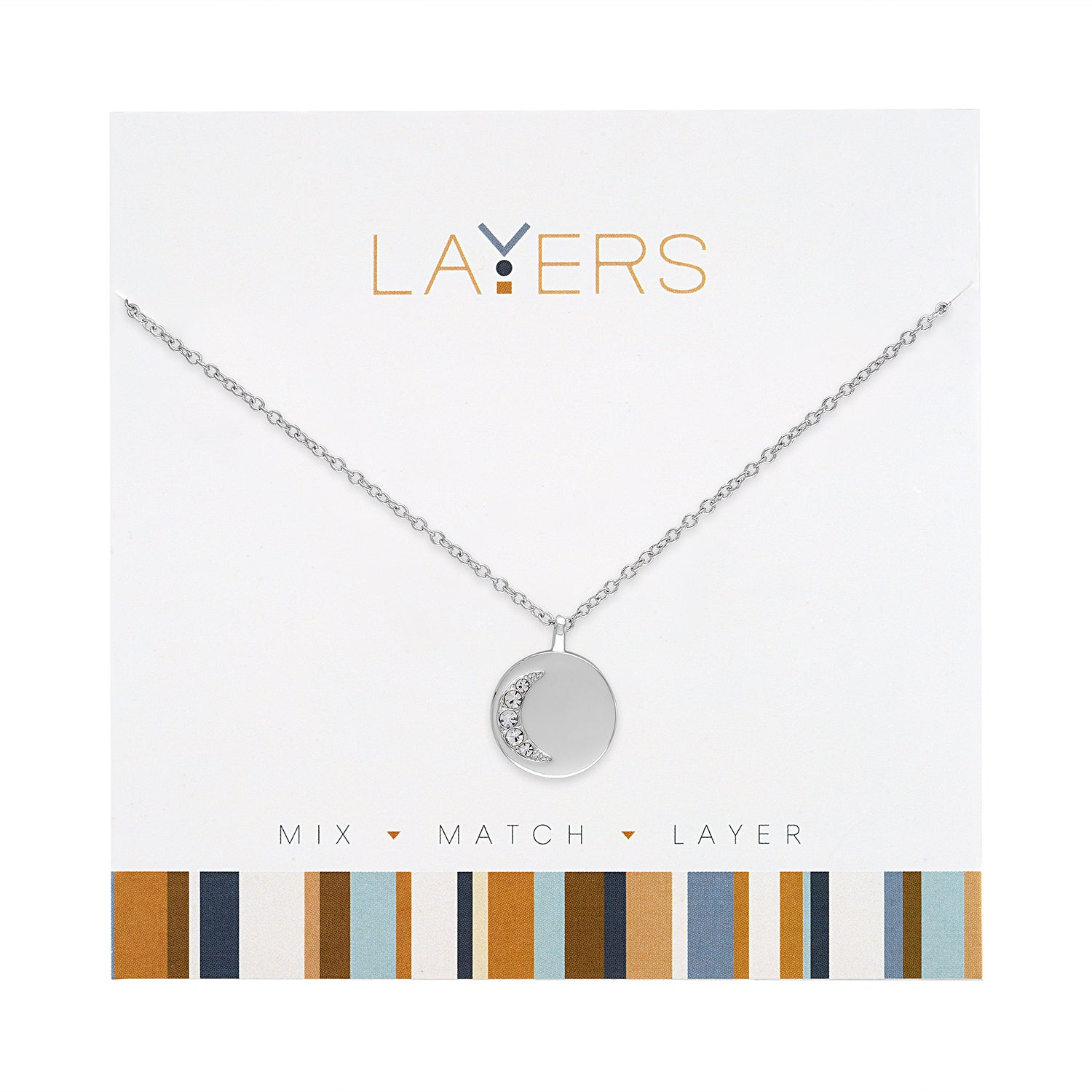 Silver CZ Cresent Moon Layers Necklace (NEW)