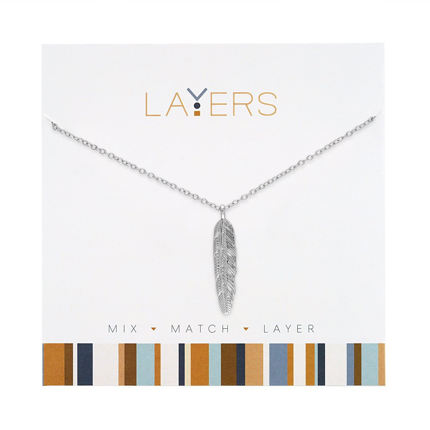 Silver Feather Layers Necklace (NEW)