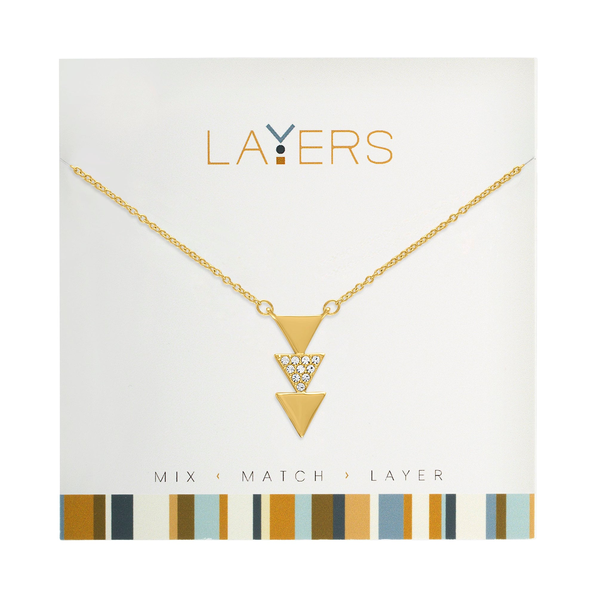 Gold Trio Triangles Layers Necklace