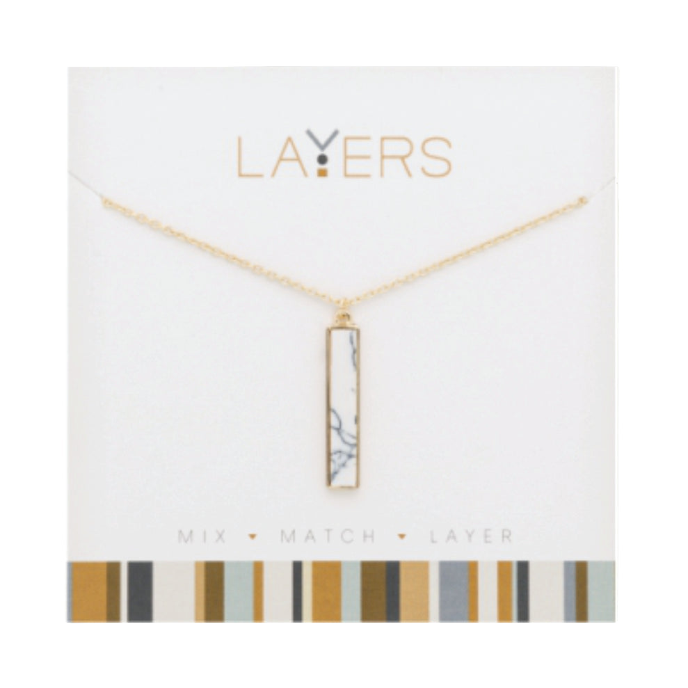 Gold Rectangle Granite Layers Necklace