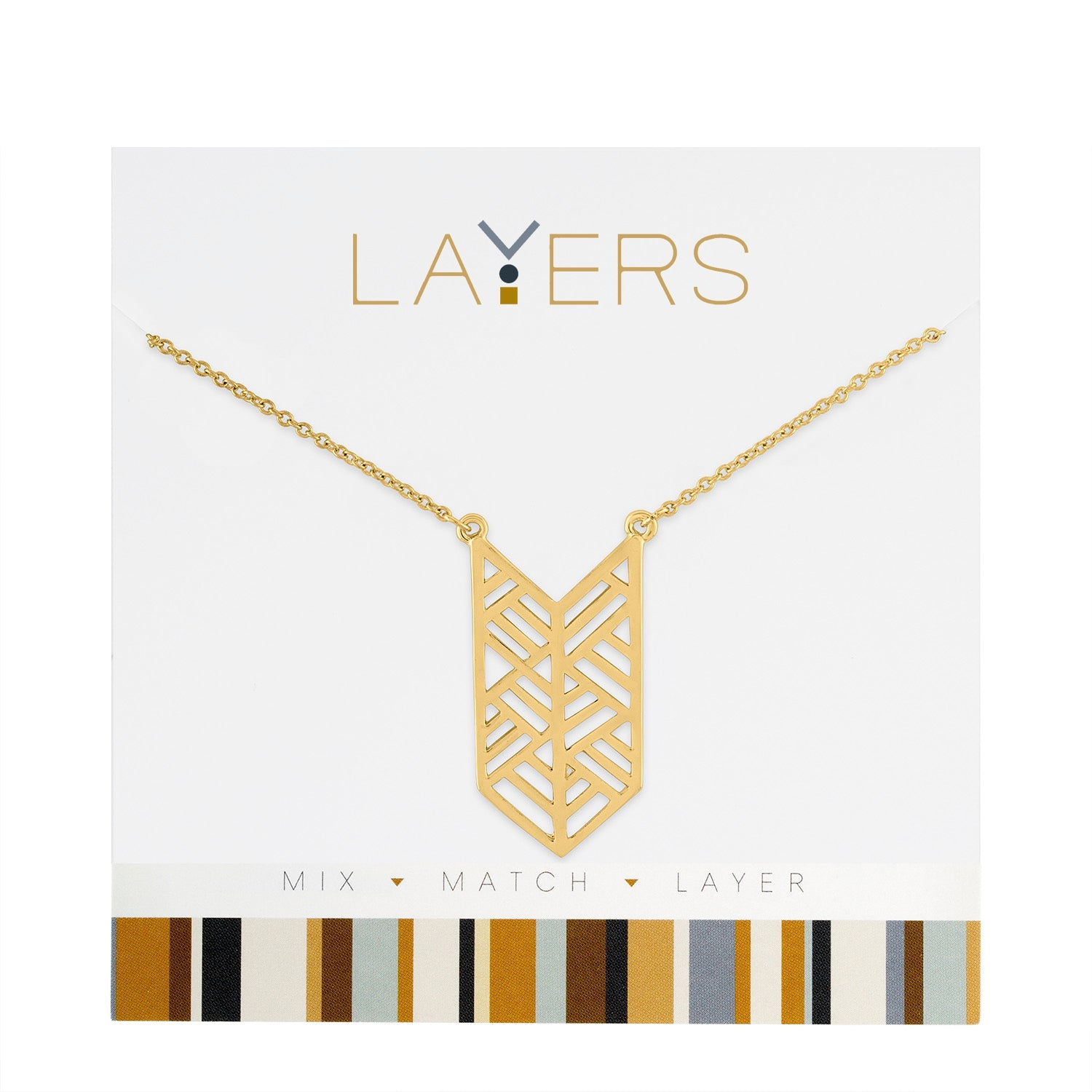 Gold Decorative Art Layers Necklace