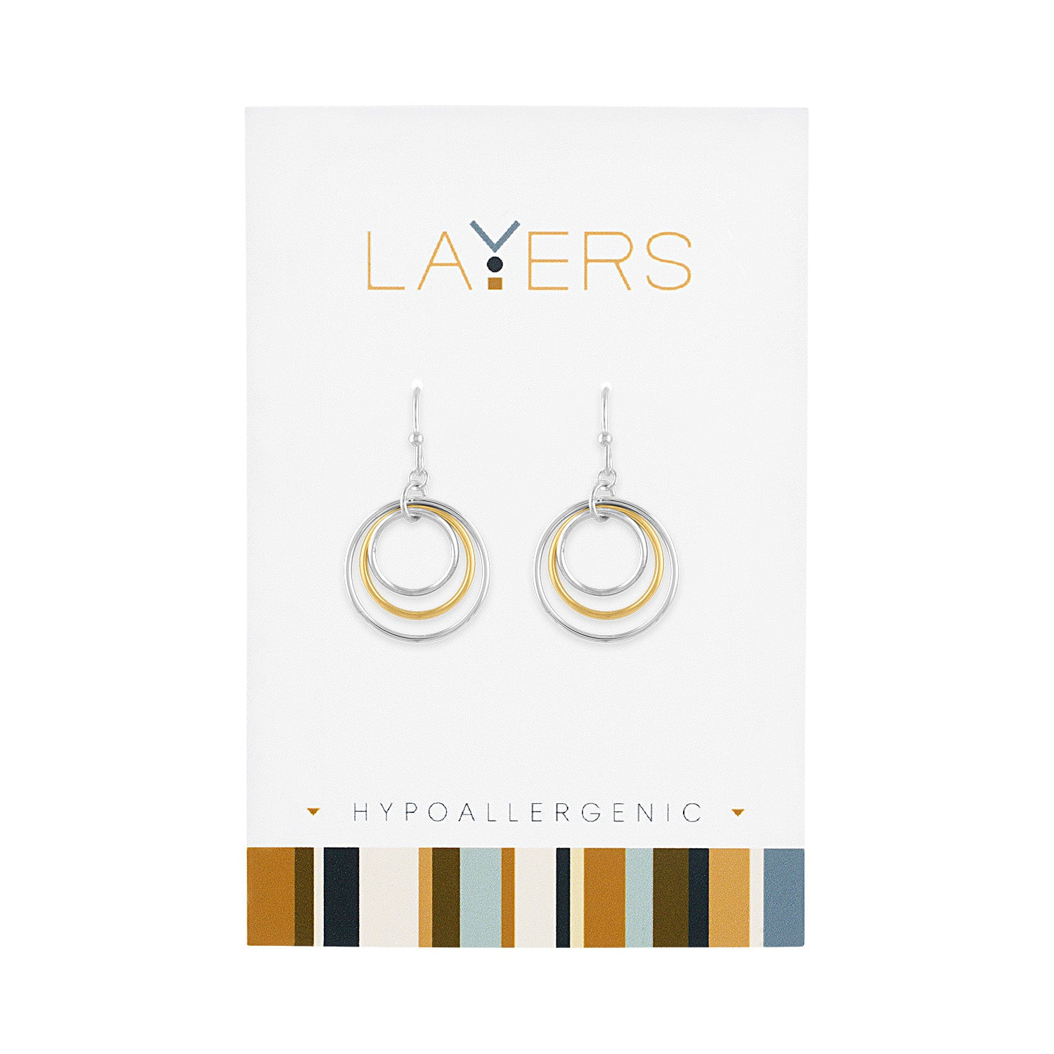 Silver Two-Tone Three Circle Dangle Layers Earrings