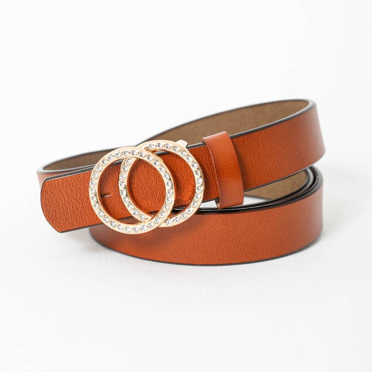 Double Ring Buckle Leather Fashion Belt