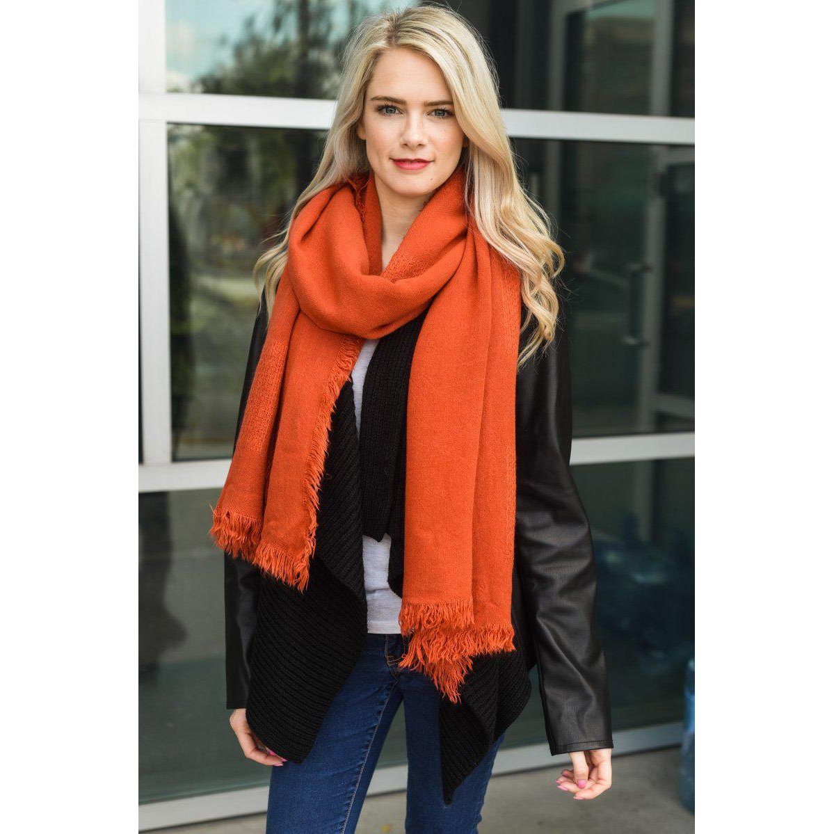 Persimmon Texture Solid Scarf-Lizzy Pink Boutique-Orange Red-Lizzy's Pink Boutique