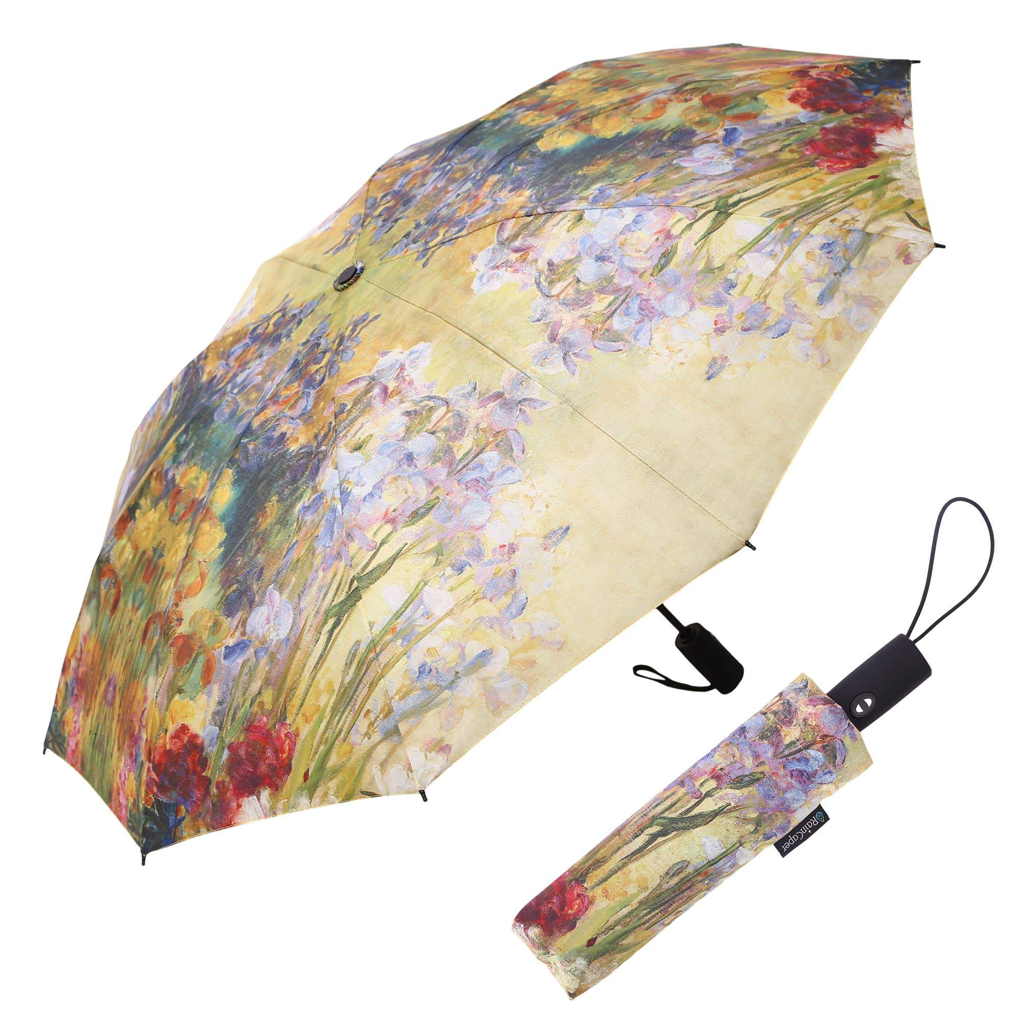 RainCaper - RainCaper Tiffany Peonies & Iris Folding Travel Umbrella-Raincaper-RainCaper-default-Lizzy's Pink Boutique