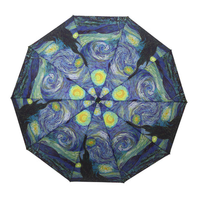RainCaper - RainCaper van Gogh Starry Night Folding Travel Umbrella-Umbrella-RainCaper-default-Lizzy's Pink Boutique