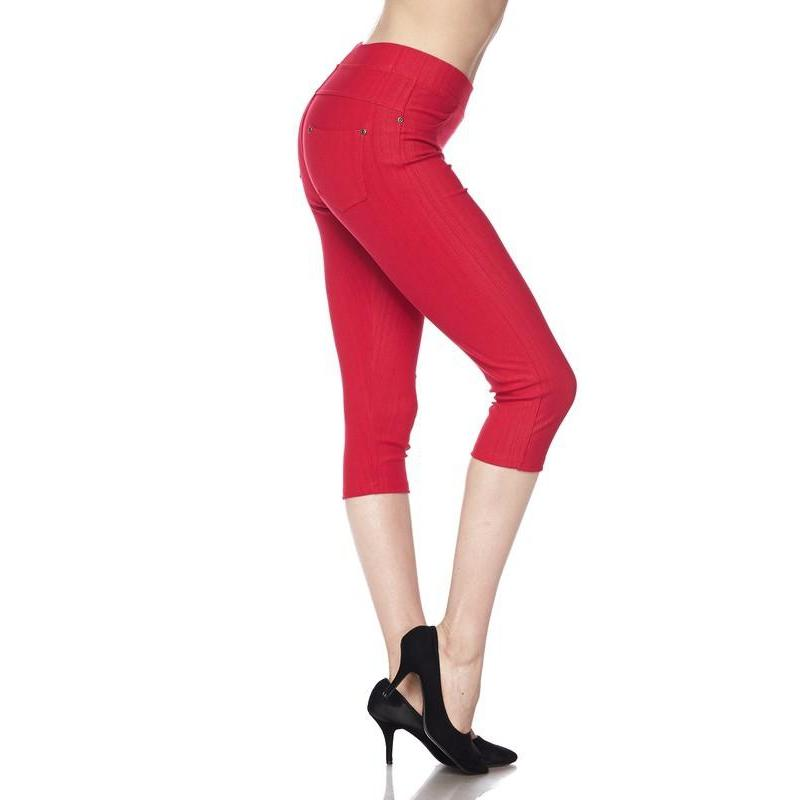 Red Denim Capri Leggings in Extra Lovely-Jean Leggings-Lizzy's Pink Boutique-1X-2X-Red Denim-Lizzy's Pink Boutique