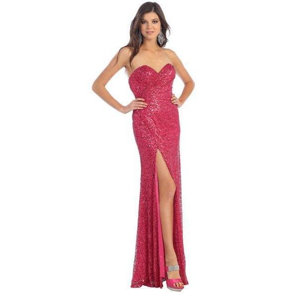 Strapless Sequin Dress-Formal-Formal-10-Fuchsia-Lizzy's Pink Boutique