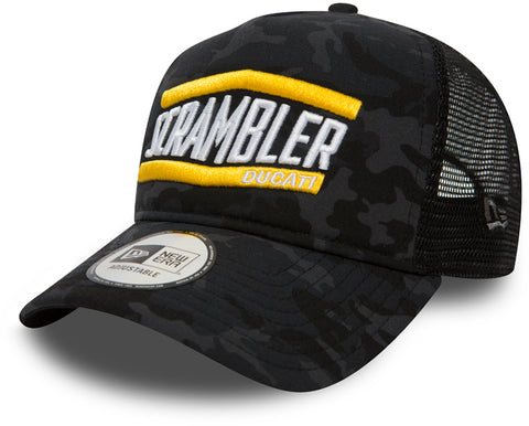 Ducati Scrambler New Era Midnight Camo Trucker Cap - pumpheadgear, baseball caps