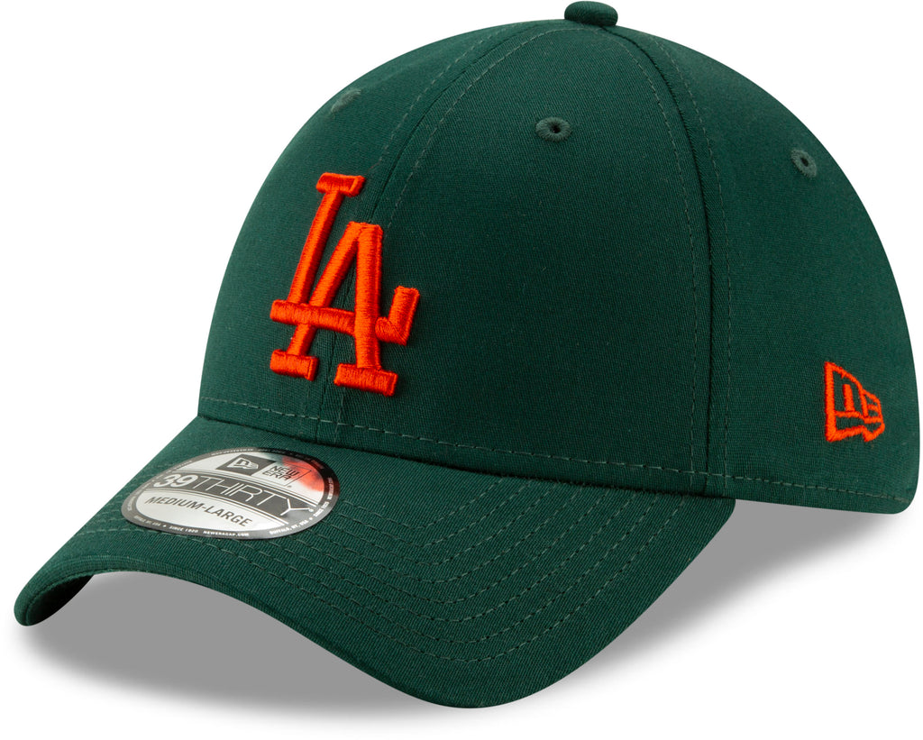 b926e3ea6f9 Los Angeles Dodgers New Era 3930 League Essential Stretch Fit Baseball Cap  - Dark Green