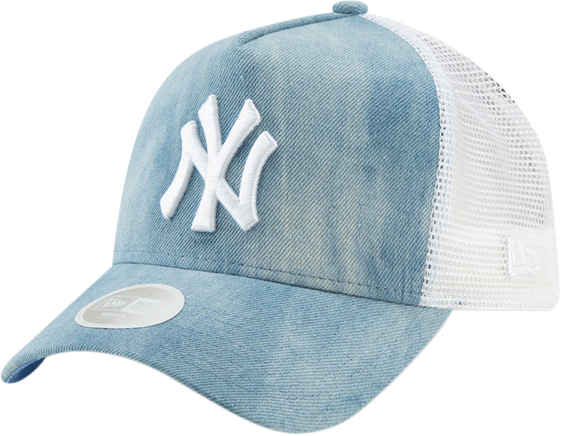 NY Yankees Womens New Era A-Frame Tie Dye Light Blue Trucker Cap