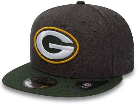 Green Bay Packers New Era 950 NFL Heather Snapback Cap + Gift Box - pumpheadgear, baseball caps