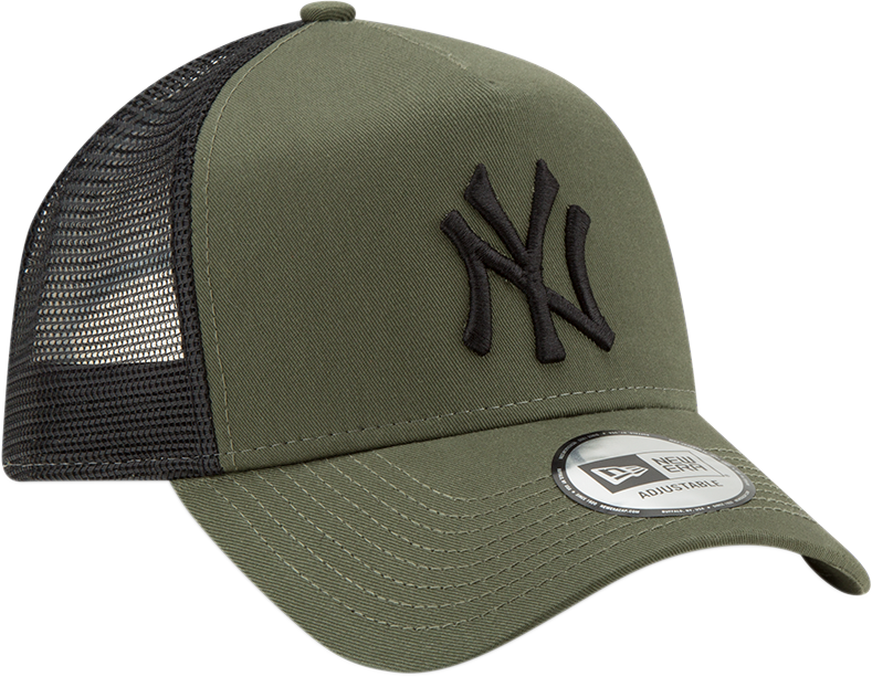 NY Yankees New Era League Essential Olive Trucker Cap – lovemycap 5cbae4bd7056
