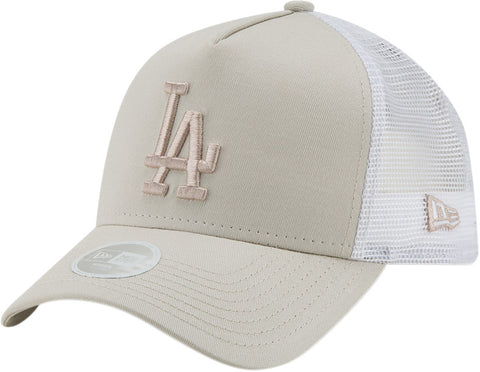 LA Dodgers Womens New Era League Essential Stone Trucker Cap