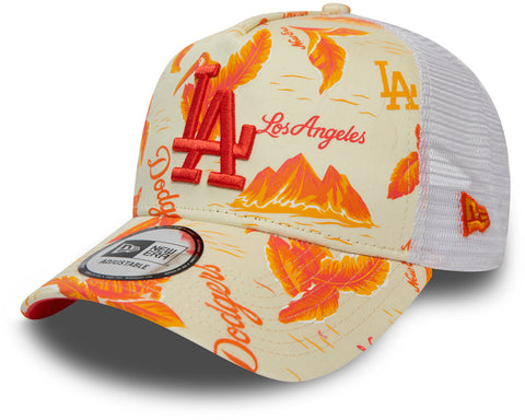 LA Dodgers New Era MLB Desert Island White/Orange Trucker Cap
