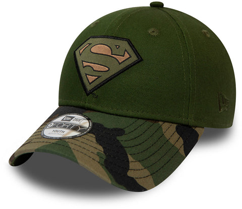 Superman New Era 940 Kids Camo Green Baseball Cap (Ages 2 - 10 years)