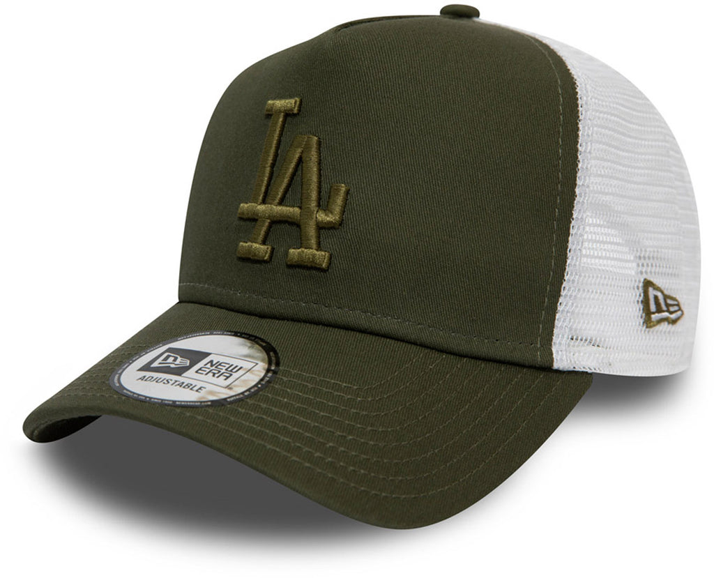 LA Dodgers Womens New Era Essential Olive Trucker Cap