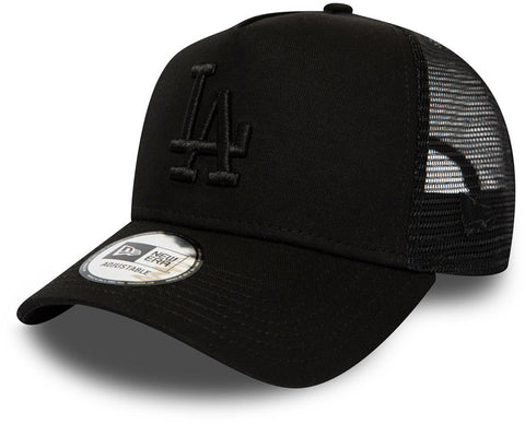 LA Dodgers New Era League Essential All Black Trucker Cap