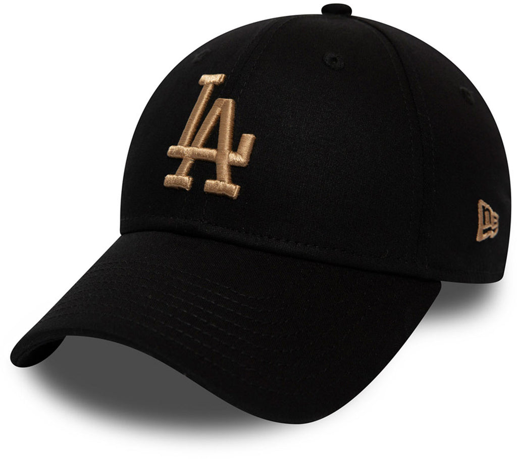 LA Dodgers New Era 3930 League Essential Black/Camel Stretch Fit Baseball Cap