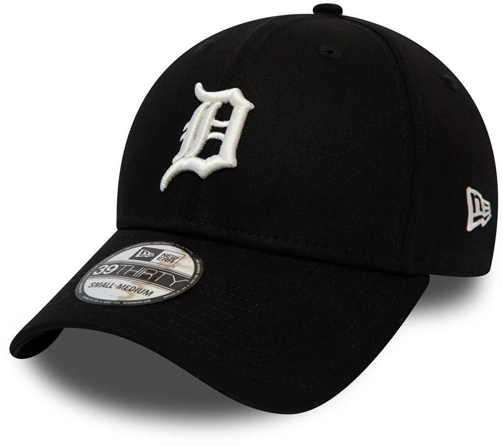 Detroit Tigers New Era 3930 League Essential Black Stretch Fit Baseball Cap - pumpheadgear, baseball caps