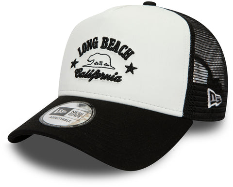 New Era Long Beach California White/Black Trucker Cap