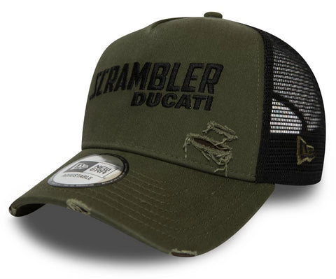 Ducati Scrambler FA19 New Era Distressed Trucker Cap - pumpheadgear, baseball caps