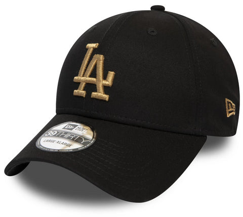 LA Dodgers New Era 3930 League Essential Black Stretch Fit Baseball Cap