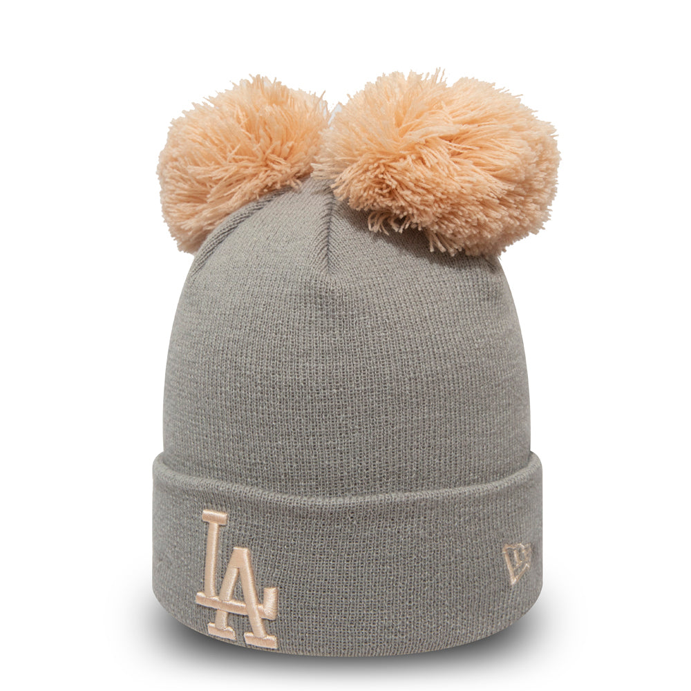 LA Dodgers Womens New Era Double Pom Grey Bobble Hat