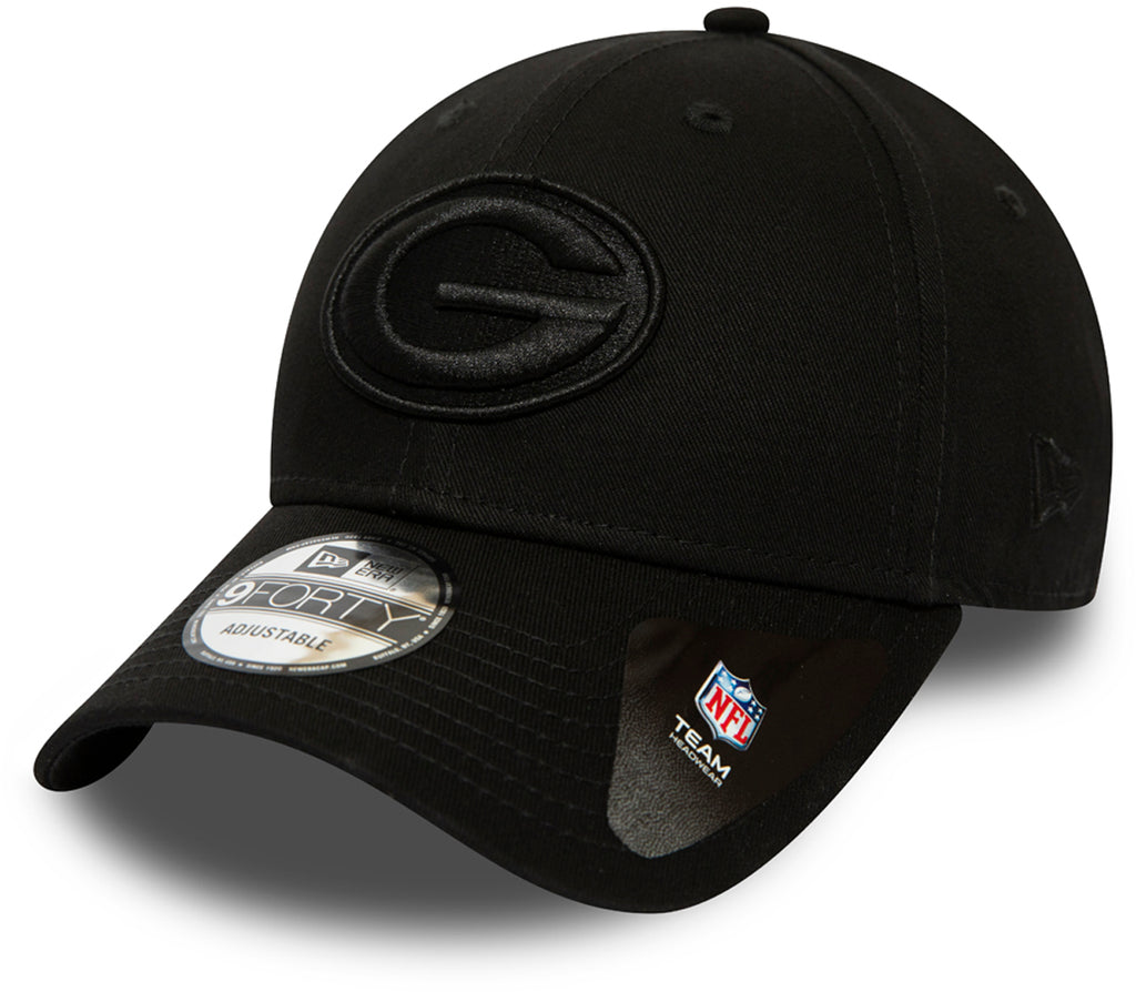 Green Bay Packers New Era 940 All Black Snapback Cap - pumpheadgear, baseball caps