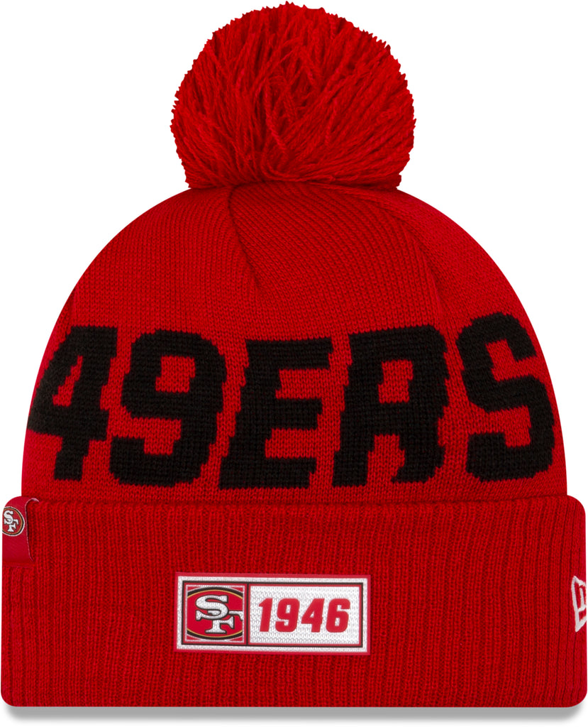 San Francisco 49Ers New Era NFL On Field 2019 Sport Knit Road Bobble Hat