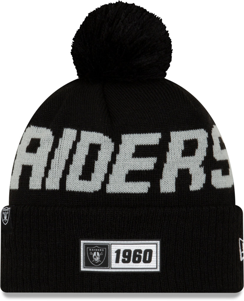Raiders New Era NFL On Field 2019 Sport Knit Road Bobble Hat