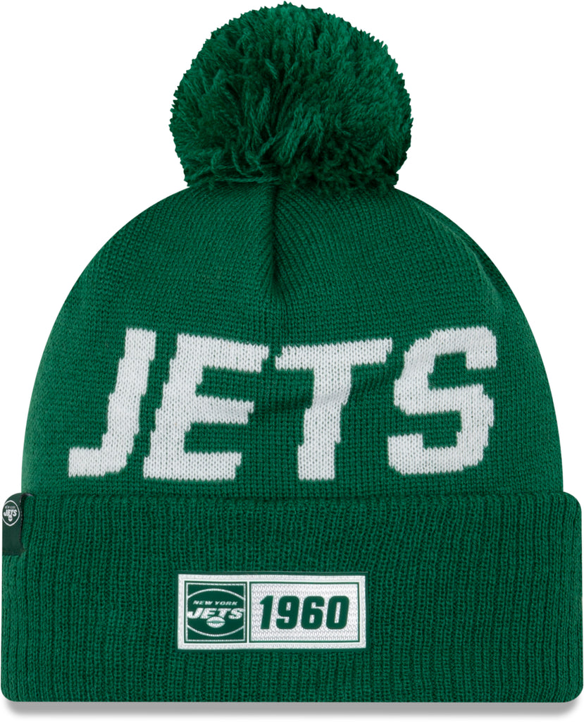 New York Jets New Era NFL On Field 2019 Sport Knit Road Bobble Hat