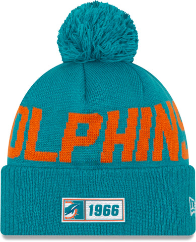 Miami Dolphins New Era NFL On Field 2019 Sport Knit Road Bobble Hat