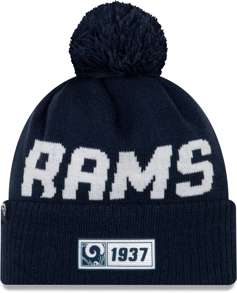 LA Rams New Era NFL On Field 2019 Sport Knit Road Bobble Hat