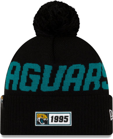 Jacksonville Jaguars New Era NFL On Field 2019 Sport Knit Road Bobble Hat - pumpheadgear, baseball caps