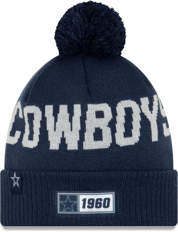 Dallas Cowboys New Era NFL On Field 2019 Sport Knit Road Bobble Hat - pumpheadgear, baseball caps