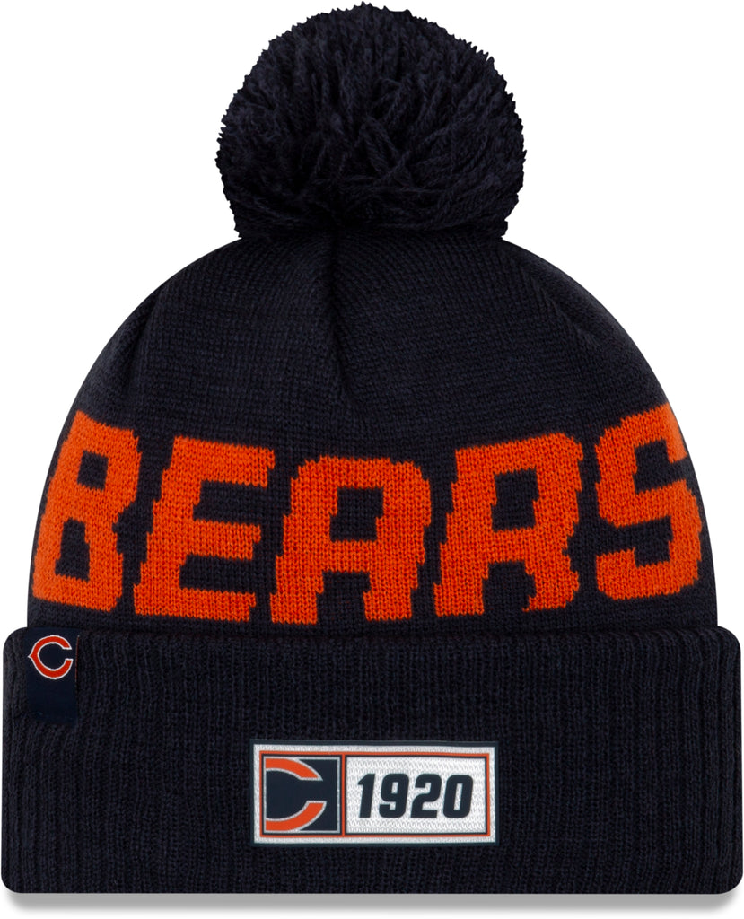 Chicago Bears New Era NFL On Field 2019 Sport Knit Road Bobble Hat - pumpheadgear, baseball caps