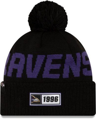 Baltimore Ravens New Era NFL On Field 2019 Sport Knit Road Bobble Hat - pumpheadgear, baseball caps