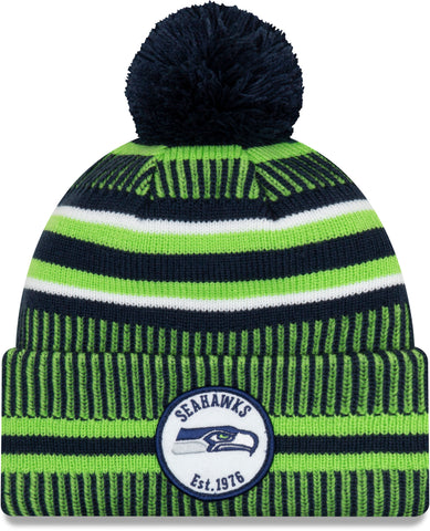 Seattle Seahawks New Era NFL On Field 2019 Sport Knit Home Bobble Hat
