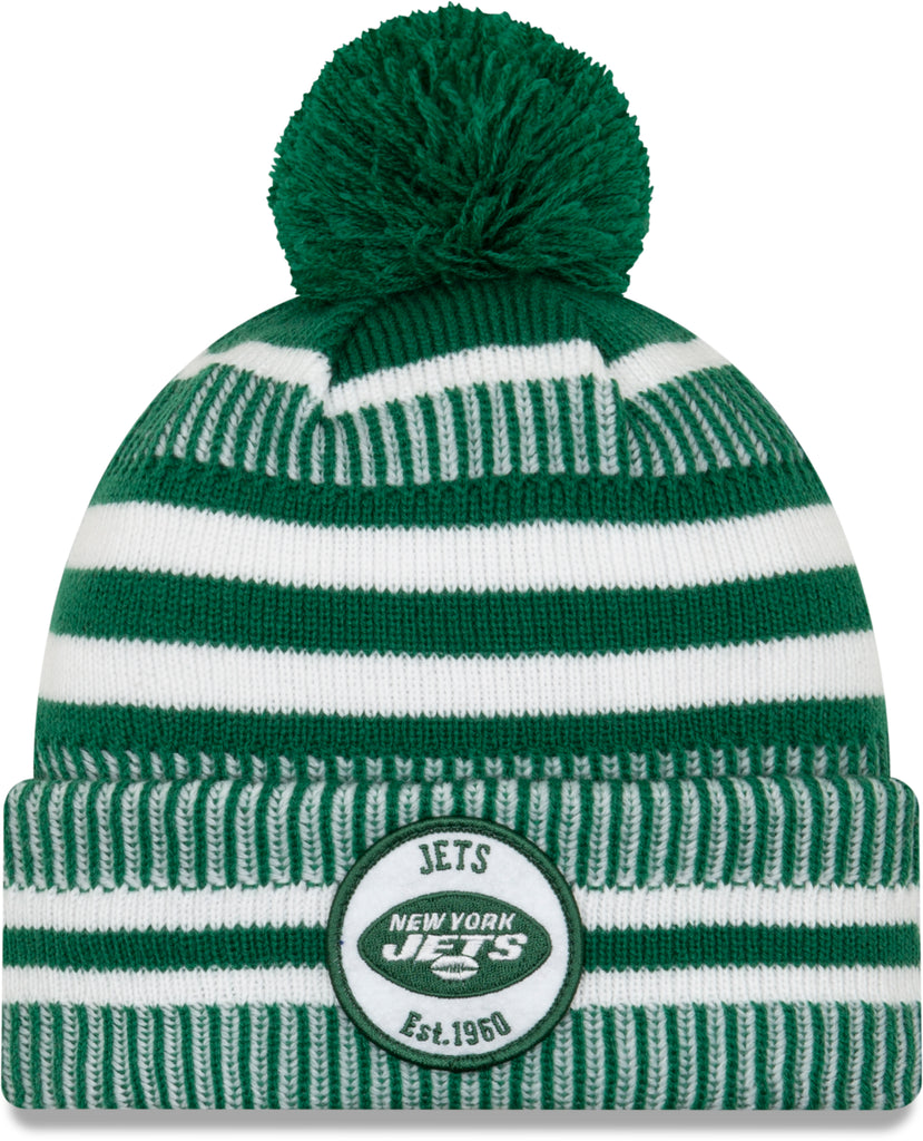 NY Jets New Era NFL On Field 2019 Sport Knit Home Bobble Hat